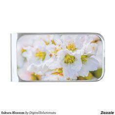 Sakura Blossom Silver Finish Money Clip