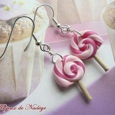 Boucles d'oreille fimo bonbon sucette rose