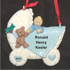 Baby Buggy Boy Blonde - Personalized First Christmas Ornament