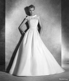 atelier pronovias 2016 irina strapless organza guipure princess wedding dress pleat skirt cap sleeve guipure topper organza collar -- Atelier Pronovias 2016 Haute Couture Wedding Dresses
