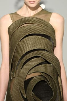 Dress with Sculptural Patterns - texture & contrast; fashion details // Threeasfour FW12
