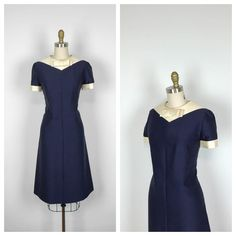 60s Blue and White Shift Dress with Bow   1960s by MotherOfVintage