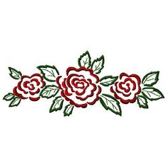 Gosia Embroidery Free Embroidery Design: Rose Border 7.64 inches H x 3.11 inches W