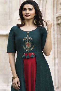 This Teal #Blue and Red Long #Gown Style #Kurti has Stone Work Embroidery. It has #Banarasi #Jacquard and Plain Satin Kurti worn by Prachi Desai.   #StylishTunics, #LongKurti, #PartyWearKurtis #BollywoodSuits, # DesignerSalwarKameez #USA #UK #Canada #Australia #Worldwide