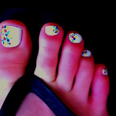 Confetti toenails. maybe big toe done white with all the confetti dots, then each other toe done with just the stripe across the top - each a different color from the confetti (?)