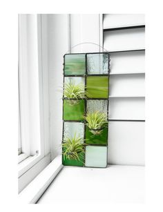 Stained Glass Panel Air Plant Holder   Green  Quilted  by glassetc, $39.99