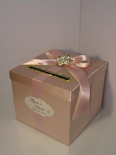 Wedding /Quinceañera/Sweet 16 Card Box Champagne and Blush pink/light pink Gift Card Box Money Box Holder-Customize your color Quince Decorations, Sweet 16 Decorations, Quinceanera Decorations, Quinceanera Party, Sweet 16 Birthday, 15th Birthday, Birthday Parties, Money Box Wedding, Card Box Wedding