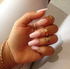 Light Pink Squoval Acrylic Nails