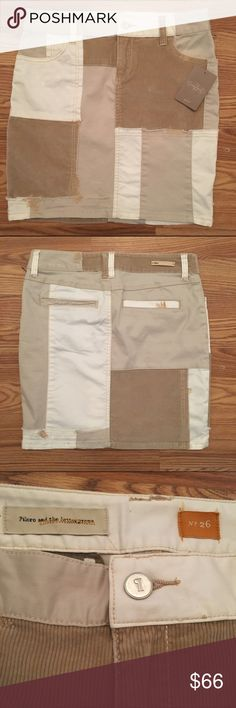 🔶NWT🔶 Anthropologie neutral patchwork skirt Patchwork skirt featuring different fabrics of different colors, very unique design sure to not be seen on anyone else!! Brand new still with tags, size 26, which should be around a size 2. Retails for $78. I am open to offers but NO TRADES, sorry!! Anthropologie Skirts