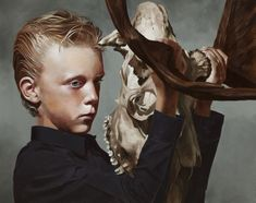 black and white - The Mask (boy with a moose skull) ll, - figurative painting - Markus Åkesson