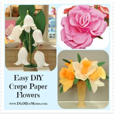 Crepe Paper Flowers Craft - Dial M for Moms #eastercrafts #eastercraftsforkids #eastercraftsforadults
