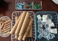 Loose parts for toddlers. Teacher must be present with toddlers if using smaller marbles/precious stones