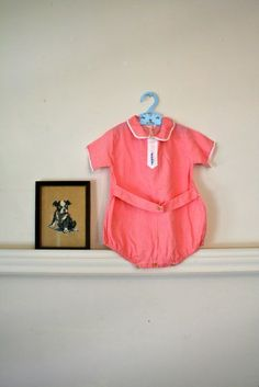 vintage 30/40s baby onesie  CHECKER hand embroidery red