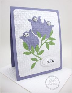 Tulips - using Stampin' UP! owl punch and square lattice embossing folder.  Pinned by Colleen Hastings, Independent Stampin' UP! Demonstrator.