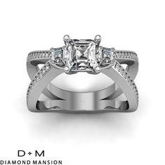 1.15 ct 3-Stone w/ Asscher Sidestones Split Shank Pave Diamond Ring-14k White Gold  Asscher Cut Engagement Rings #asscher #asscherdiamonds #asschercut #asschercutengagementrings $2400