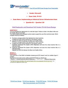 70-414 Exam Dumps with PDF and VCE Download (81-120)