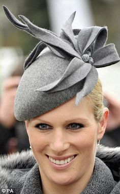 Zara Phillips wearing Jane Taylor Fascinator/pillbox she really has the best tastes in hats. We love her natural makeup.