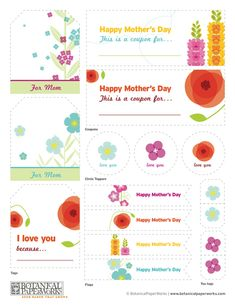 A free downloadable sheet of Mother's Day printables! Tags, flags, and customizable coupons, all based on our Bright Bouquet stationery collection. We think it's a pretty and fun way to add that extra special touch to any Mother's Day gift. http://goo.gl/0DFLF