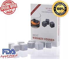 Wishstone Whiskey Stones Set of 9- Whisky Stone Gift Box With Velvet Storage Pouch – Good Alternative To Stainless Steel Ice Cube ,Granite ,Basalt ,Marble, Soapstone Chilling Rocks & Ice Ball Mold.Looks Perfect In Your Whiskey Decanter Bottle , Beer & Wine Glasses ,Best Christmas & Birthday Gifts, FDA Approved – High Quality & Good Review   Wishstone Whiskey Stones Set of 9- Whisky Stone Gift Box With Velvet Storage Pouch - Good Alternative To Stainless Steel Ice Cube ,Granite ,Basal..