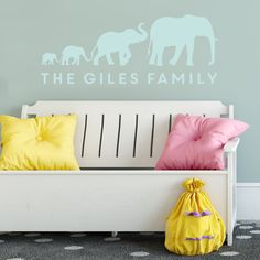 Personalised Elephant Family Wall Sticker by That's Nice That, the perfect gift for Explore more unique gifts in our curated marketplace. Family Wall, Home And Family, Elephant Images, Elephant Family, New Home Gifts, Wall Spaces, Wall Stickers, Interior And Exterior, House Warming