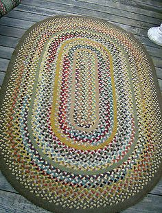Vintage 6 5 X4 3 Hand Braided Sewn Wool Rag Rug Maine Made And Quilt