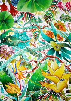 'Tropical Paradise', Kate Morgan RI Studio, all works are ©KateMorganStudio and can not be reproduced in any form without consent of the artist. Tropical Style, Tropical Art, Tropical Vibes, Tropical Paradise, Tropical Flowers, Jungle Print, Royal College Of Art, Tropical Pattern, Motif Floral