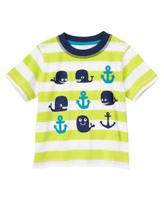Your little sailor won't need to search the high seas to find comfort in our stripe tee. Grinning whales and textured anchors make this nautical look playful and ready for fun. (Gymboree 3m-5T)