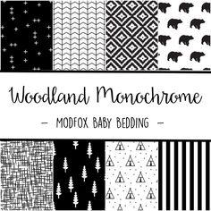 Woodland Monochrome Baby Bedding - Black and White Bedding - Woodland Crib Sheet…