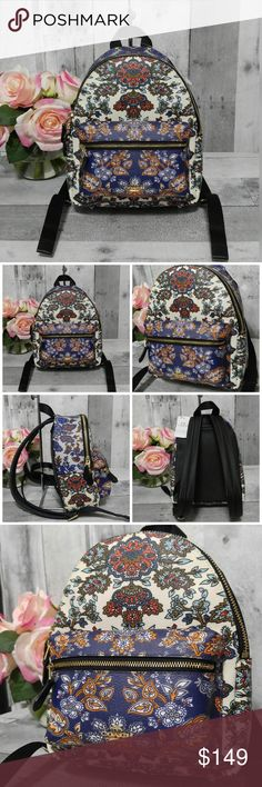 """Coach Charlie Mini Backpack Purse NWT NWT Coach mini Charlie Backpack in Forest Flower Print! So cute, coated canvas with leather trim. Padded adjustable straps, Silver hardware, top loop, front zipper pocket and main zipper compartment! So pretty!!!  New w tags! 9"""" tall & 8"""" wide approx  Zipper and slip pockets inside, fully lined  No trades Coach Bags Backpacks"""