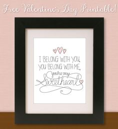 LOVE this free Lumineers song lyric printable & it's FREE! KV's Confessions: Freebie Valentine's Printable ❤(I'd shrink and place in frame with a picture) My Funny Valentine, Valentine Crafts, Holiday Crafts, Holiday Fun, Valentines, Lumineers Songs, Heart Day, Love Days, All You Need Is Love