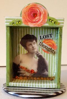 lost thoughts...small green striped shrine by DianaDDarden on Etsy, $32.00