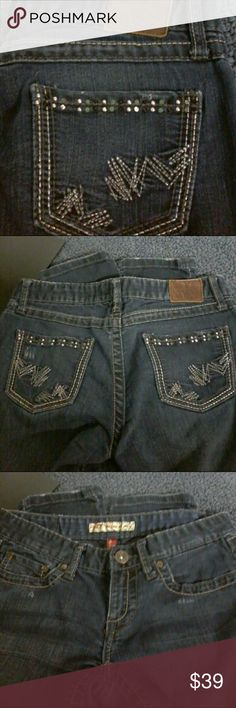 RARE BKE Madison skinny jeans size 27 x 31 1/2 Rare pair of BKE Madison skinny stretch jeans tag has 27 x 31 1/2 a few times please check pictures for condition stitching and gems on back pockets BKE Jeans