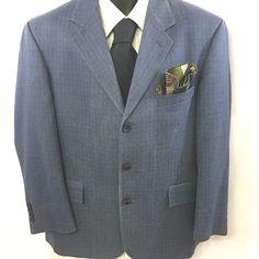 NAUTICA Mens Blue Sport Coat Houndstooth 42S Three Button Wool Silk Lined EUC #Nautica #ThreeButton