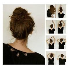 messy bun. Such a cute and simple way to do your hair! this would look good with many of our outfits!