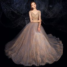 Luxury / Gorgeous Grey Gold Evening Dresses 2019 A-Line / Princess V-Neck Sleeve Beading Glitter Tulle Floor-Length / Long Ruffle Backless Formal Dresses Glamorous Evening Dresses, Burgundy Evening Dress, Stunning Dresses, High Fashion Dresses, Stylish Dresses, Lace Bridesmaid Dresses, Prom Dresses, Formal Dresses, Mode Ulzzang
