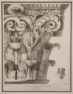 An Early Century Roman Engraving of The Temple of Jupiter Stator Rome. Exceptional scale and form of classical nature fully enhancing the Roman Empire Corinthian column ; English - Dim: in. Architecture Antique, Architecture Classique, Architecture Drawings, Historical Architecture, Architecture Design, Architecture Diagrams, Architecture Portfolio, Classical Architecture, Baroque Frame