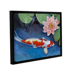 Koi And Water Lily by Michael Creese Floater Framed Painting Print on Gallery Wrapped Canvas