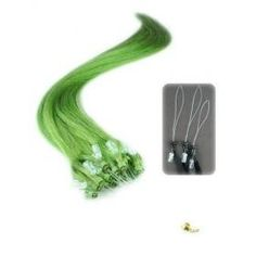 "Micro Loop Ring Human Hair Extensions 25 Strands, Color Green by Dashing. $19.99. 16"" Straight Indian Remy Human Hair. Color: Green. 25 Strands Pre Beaded tips with looper. May be used to make hair thicker or add color. Give your hair a trendy look with out the damage of hair dye and highlights. Each strand is installed with the included micro link ring beads. Enjoy this new and fast way to add thickness and color to your hair.  For easy installation and removal check out our products."