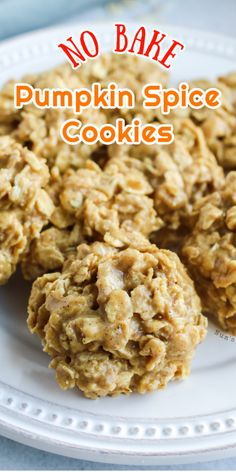 These simple, easy Pumpkin Spice Cookies are the perfect way to wow your friends and family this season! These no bake oatmeal cookies are just as easy as the original cookie, but with a yummy pumpkin spice flavor! Soft and chewy, they taste like autumn in cookie form. YUM! #pumpkin #pumpkinspice #nobake #nobakecookies #pumpkinspicecookies #cookies #numstheword #dessert #autumnrecipes #fallrecipes #quickcookies Gourmet Desserts, Easy Desserts, Dessert Recipes, Quick Cookies, Yummy Cookies, Pumpkin Spice Cookies, Oatmeal Cookies, Peanut Butter Desserts, Best Cookie Recipes