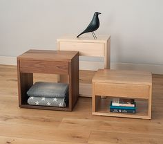 the new collection of cube bedside tables available in a range of hardwood timbers