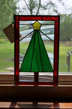 Holiday Christmas Tree Star Xmas Gift Stained Glass Panel Red Green snow winter