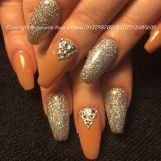 Swarovski crystal, nude & holographic glitter acrylic nails. Nail art.