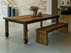 I love the rawness of this wooden table and bench - Wheel Dining Table,Designed by Alessandro La Spada