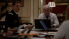 Philip Winchester as Colonel Shaw and William Devane as President Heller in 24: Live Another Day