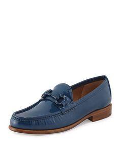 SALVATORE FERRAGAMO MASON PATENT LEATHER LOAFER, PACIFIC BLUE. #salvatoreferragamo #shoes #flats