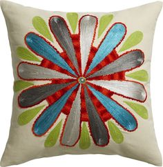 """embroidered bold flower 18"""" pillow"""