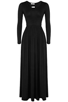 Meaneor Women's Long Sleeve Solid Maxi Long Dress with Elastic Empire Waistband Black M Meaneor http://www.amazon.com/dp/B014R34ORU/ref=cm_sw_r_pi_dp_a6Mrwb0R106HS