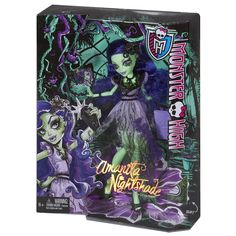 """Once, every 1,300 years, the Corpse Flower blooms -- and this is the year! Following mons-tradition, the bad seed of the Corpse Flower, Amanita Nightshade, will wake up too! Making every other flower in the garden look like a weed, she is sure to grow on the ghouls of Monster High. Her gore-geous dress creates quite a """"stink"""" designed with her cultivated style and in her signature colors of green and purple. Garden-inspired skelements include ruffles, pleats and sheer fabric. Flowers and…"""