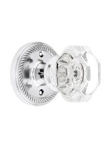 Waldorf Crystal Door Knob Set With Rope Rosettes Privacy Function In Polished Chrome Finish. Door Restoration Hardware. by Nostalgic Warehouse. $103.90