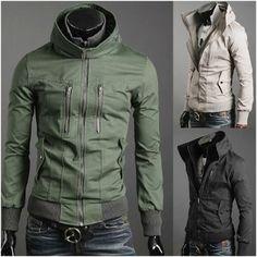 Korean Style Men's High Collar Double Zipper Casual Jacket